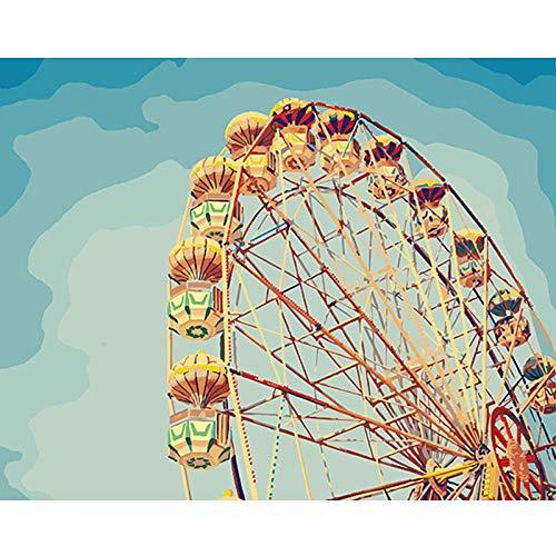 MENGBB Digital Oil Painting Glück Riesenrad Farbekunst Basteln Malen Spielzeug Malbüche Leinwanddrucke Home Haus Dekor-Without Frame