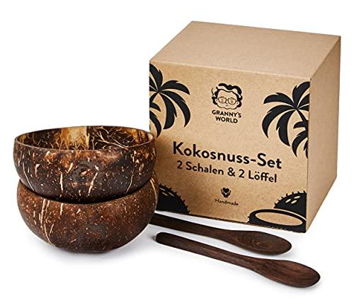 Granny's Exclusive - Juego de 2 cuencos de coco con cucharas | Producto 100% natural hecho a mano | Cuenco de madera | Juego de cuencos de coco