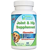 Particular Paws Glucosamine for Dogs Advanced Joint and Hip Supplement with MSM, Chondroitin, Vitamin C & E, Hyaluronic Acid, Omega 3 & Omega 6-60 Chewable Tablets