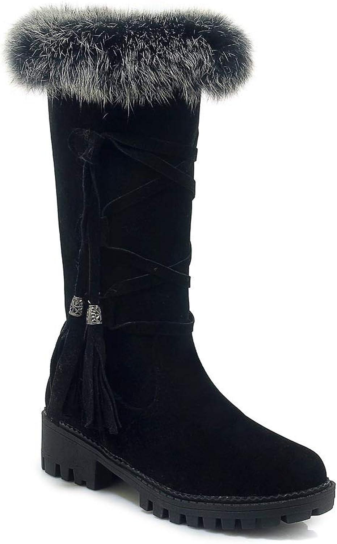 Women Plush Snow Boots 2018 Autumn Winter Platform Lace Tassel Boots Outdoor Cotton Boots,Black,40 EU QINGMM