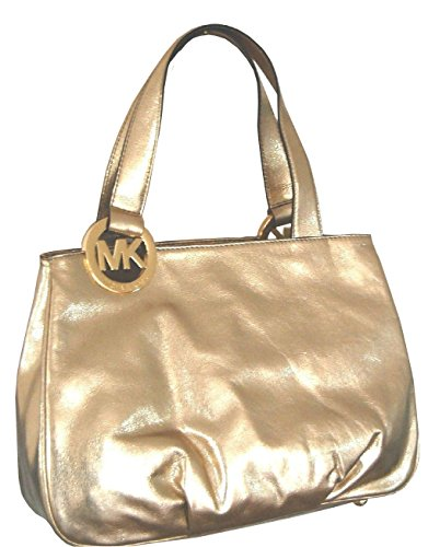 """polished golden leather with gold tone MK signature Ring Top snap closure; Middle zipper compartment Interior features zip pocket and 4 slip pockets Double straps with 9"""" drop Measurements: (13.5"""" top), ( 15.5"""" Bottom) L X 11"""" H X 5"""" D"""