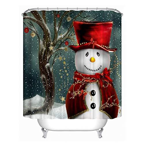 JameStyle26 Cortina de ducha con diseño de muñeco de nieve y árbol de Navidad, impresión digital, incluye anillos antimoho, para baño, lavable, 180 x 180 cm, diseño de muñeco de nieve