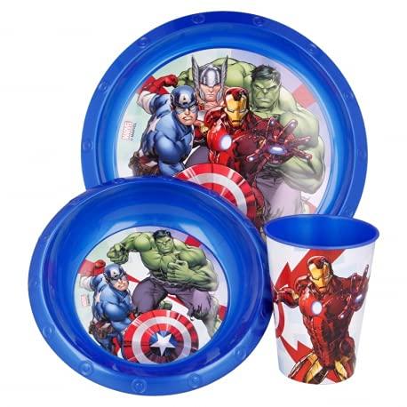 Set Stoviglie Servizio da Tavola per Bambini 3 Pezzi con Piatto, Ciotola e Bicchiere Easy 260 ml in confezione regalo (Marvel Avengers Supereroi)