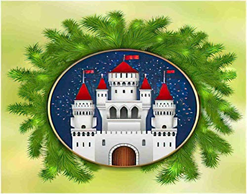 Ghjxda 5D DIY Christmas Castle Diamond Painting Kits White Fireworks and Branches of Tree Celebratory Medieval Painting Arts Craft Canvas for Home Wall Decor Full Drill Cross Stitch 12x16 Inch