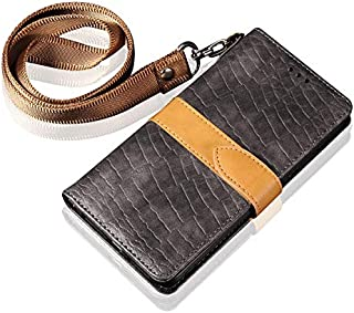 Jieming IPhone XR用(6.1インチ) - ロングリストストリップ付きワニパッチワークデザインビジネスPUレザー磁気閉鎖フリップ財布保護ケースカバー (色 : グレー)