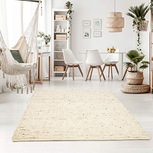 Taracarpet Handweb-Teppich Oslo Wolle im Skandinavischem Landhaus Design Wohnzimmer Esszimmer Schlafzimmer Flur Läufer beidseitig verwendbar 070x130 cm Natur