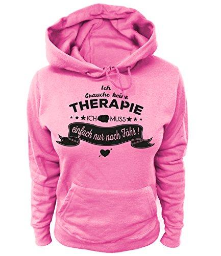 Artdiktat Damen Hoodie - Ich Brauche Keine Therapie - Ich muss einfach nur nach Föhr Größe XS, rosa