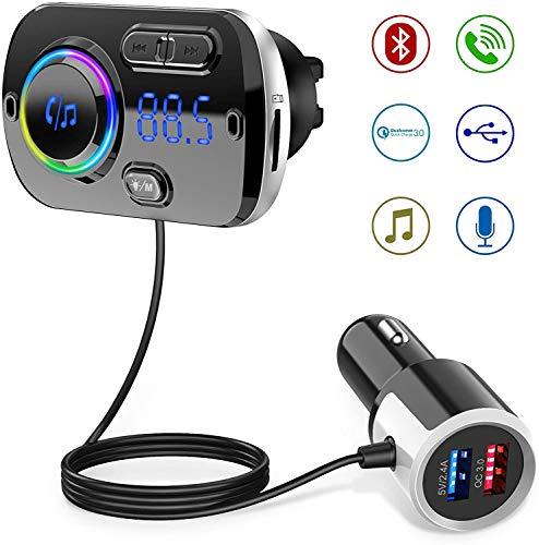 Trasmettitore Fm Bluetooth 5.0 QINFOX 2-in-1 con 2 Porte USB QC3.0 Port FM Transmitter per Auto Radio Adattatori Vivavoce Car kit 7 colori LED Supporto Siri Supporta Scheda Chargement Rapide/TF/USB