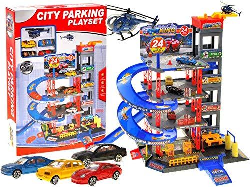 BSD Parcheggio Auto Bambini - Parking Garage Macchinine - Grande City Parking 4 Livelli - Set Autolavaggio con 4 Macchine