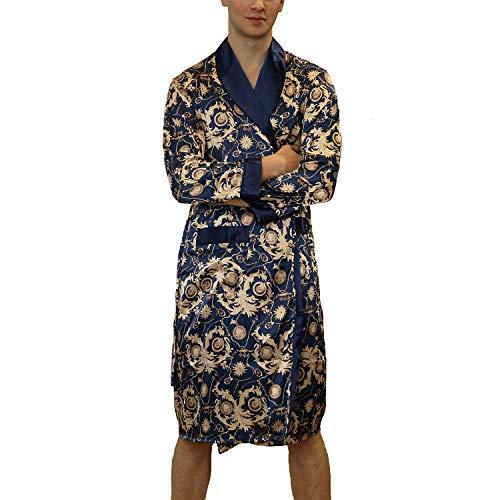 Lu's Chic Men's Satin Kimono Robe Silk Bathrobe Loungewear Spa Long Sleeve Pockets Sleepwear Navy US L (Tag2XL)