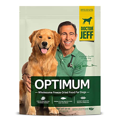 Dr. Jeff's Optimum - Wholesome Freeze-Dried Food for Dogs - Vet-Formulated Nutrient-Rich Raw Diet with Omega-3s, Protein, and Human-Grade Fruits and Vegetables - 1 LB. Bag
