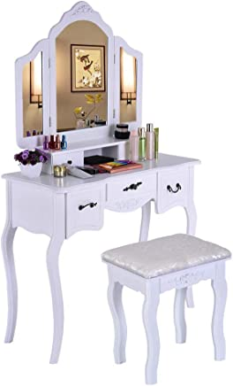 $159 Get Beyonds White Luxury Dressing Table with 3 Mirror and Solid Wood Stool,90° Rotation Detachable Mirror,5 Drawers Adjustable Vanity Table Set Makeup Dresser