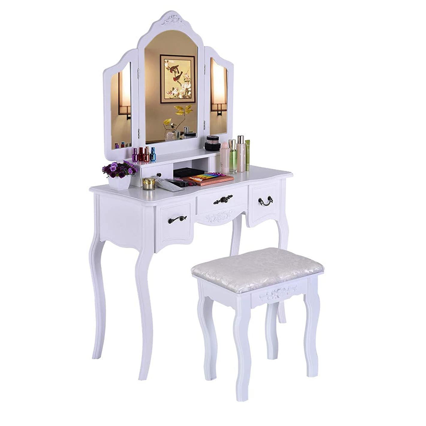 Beyonds White Luxury Dressing Table with 3 Mirror and Solid Wood Stool,90° Rotation Detachable Mirror,5 Drawers Adjustable Vanity Table Set Makeup Dresser