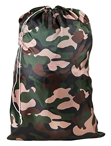 Nylon Laundry Bag - Locking Drawstring Closure and Machine Washable. These Large Bags Will Fit a Laundry Basket or Hamper and Strong Enough to Carry up to Three Loads of Clothes. (Camouflage)
