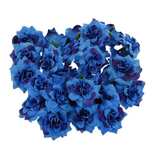 ULTNICE 50 Stück Blumenköpfe Künstliche Blume Köpfe Stapelia Köpfe Rose Kopf für Hausgarten Hochzeit Geburtstag Party Dekoration, Blau