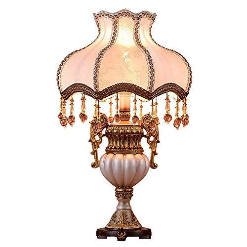 Lámpara Escritorio Patrón de bordado europeo de alta gama, material de resina translúcida blanca, lámpara de tela con pantalla plateada, lámpara de mesa de noche, lámpara de iluminación, lámpara de sa
