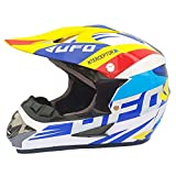 Wenyan Adulto Motocross Casco MX Moto Casco ATV Scooter ATV Casco Gafas Máscaras Guantes Máscara (S, M, L, XL),White/UFO,XL