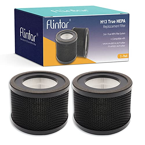 Flintar H13 True HEPA Replacement Filter, Compatible with TaoTronics TT-AP001 Air Purifier and VAVA VA-EE014 Air Purifier, 3-in-1 H13 Grade True HEPA and Activated Carbon Filter Set, 2-Pack