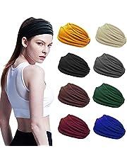 8 Stks Sport Hoofdbanden voor Vrouwen, Yoga Katoen Haarband Elastische Workout Zweetbanden Non-Slip Brede Hoofd Wraps Zweet Wicking Hoofdband voor Running Gym Fitness Fietsen (8 Kleuren)