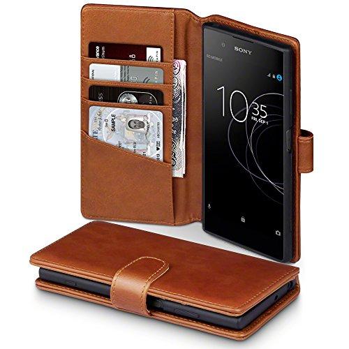 TERRAPIN, Kompatibel mit Sony Xperia XA1 Plus Hülle, [ECHT Leder] Brieftasche Hülle Tasche mit Standfunktion Kartenfächer & Bargeld - Cognac