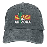 NOBRAND Transpirable Ocio Sombrero,Cómoda Sombrero De Deporte,Secado Rápido Dad Hat,Vintage Cactus Arizona Flag Unisex Gorras De Béisbol Ajustables Sombreros De Mezclilla Cowboy Sport Outdoor