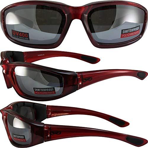 Global Vision Eyewear - Occhiali da sole con lenti a specchio in schiuma EVA, montatura rossa