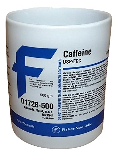 Fisher Scientific Caffeine Chemical Label Mug - 12oz Ceramic Cool Chemistry Coffee Mug! - Unique Design - Funny Gift for Coffee-Loving Nerds!