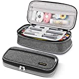 Afomida Pencil Case Large Capacity Pen Pouch Stationery Holder Big Storage Marker Bag Foldable Boy Girl College High School Supplies Office Box Organizer with Zipper (Gray)