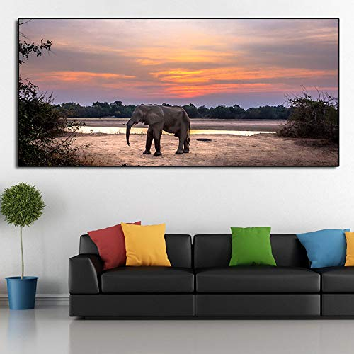 Elefante cartel pintura naturaleza paisaje imagen pared arte cartel para sala de estar decoración del hogar50x100cm sin marco