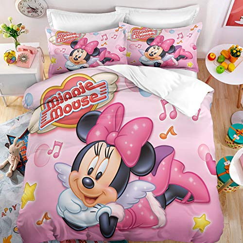 Dakeai - Juego de cama infantil 3D con diseño de Mickey & Minnie de Mickey y Minnie Kiss Love, 2/3 piezas (P7,135 x 200 cm)