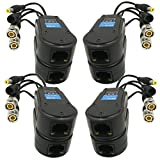 AimHD 4 Pair Passive Video/Power Balun Upgraded 1080P - 8MP BNC to RJ45 Long Distance Network Transceiver Cat5e / Cat6 Cable to BNC Male Adapter for Full HD Security Surveillance Camera System- 8Pack