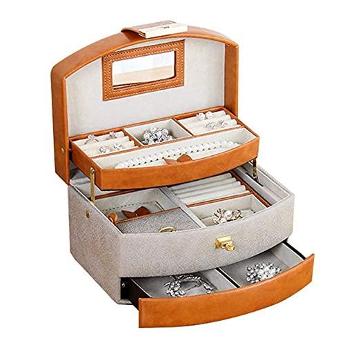 POUAOK Caja organizadora de Joyas pequeña, Caja de Almacenamiento de Cuero Multicapa de Gran Capacidad, Organizador de Joyas con Espejo Grande, para Anillos, Collares, Pendientes,