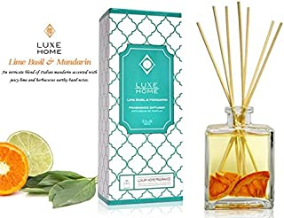 Luxe Home Lime Basil & Mandarin Fragrance Reed Diffuser with Bamboo Reed Sticks   Italian Mandarin, Juicy Lime & Herbaceous Basil   Great Bathroom Scent Gift Idea for The Home!