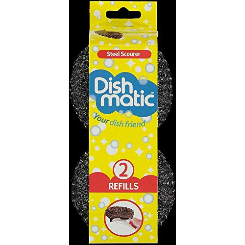 2 Packs of 2 Dishmatic Steel Scourer Refill Heads for cleaning BBQ's, Hot Plates, Steel Pots & Pans (4 in total) by Caraselle