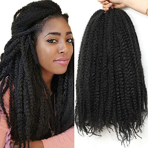 Firstcyh Hair 3 Packs Kinky Marley Braiding Hair for Twist Afro Kinky Braiding Hair Marley Twist Hair Kinky Braid Twist Hair Synthetic Marley Hair for Twists 30 Roots/Bundles (18 inch, 1B#)……