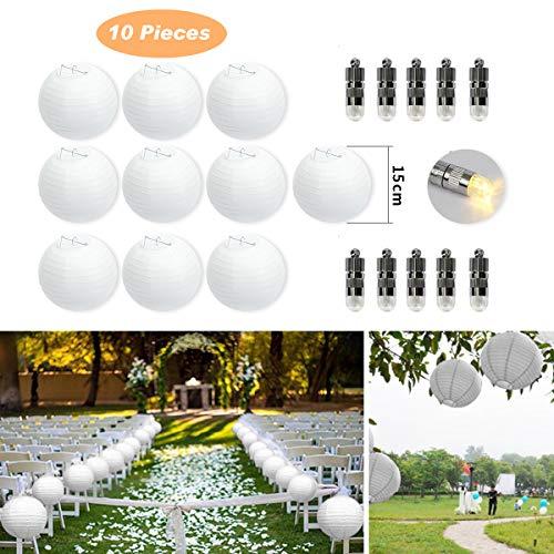FullBerg ® 10er Papierlaterne 15cm weiß Lampions + 10er Warmweiße Mini LED-Ballons Lichter, rund Lampenschirm Hochtzeit Party Dekoration Papierlampen 6