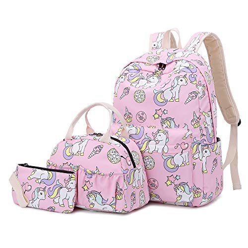 Lmeison Girls Bookbag with Lunch Bag Pencil Case, Unicorn Backpack Set Lightweight Travel Daypack Waterproof 14inch Laptop Bag for School, Pink