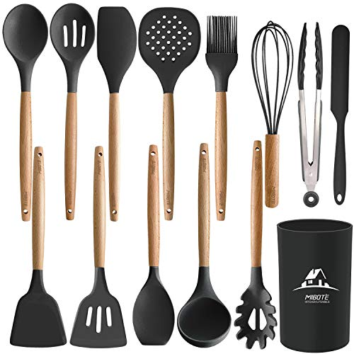 MIBOTE 14PCS Silicone Cooking Kitchen Utensils Set with Holder, Wooden Handles BPA Free Non Toxic Silicone Turner Tongs Spatula Spoon Kitchen Gadgets Utensil Set for Nonstick Cookware (Black)
