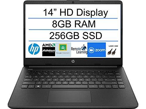 2020 Newest HP 14 Inch Premium Laptop, AMD Athlon Silver 3050U up to 3.2 GHz(Beat i5-7200U), 8GB DDR4 RAM, 256GB SSD, Bluetooth, Webcam,WiFi,Type-C, HDMI, Windows 10 S, Black + Laser HDMI