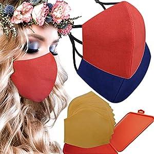 Cussi – Maschera in tessuto igienico riutilizzabile omologata UNE 0065:20 e certificato BFE 99%, lavabile fino a 20 cicli-pack 2 mascherine, astuccio, filtri extra (blu, blu)