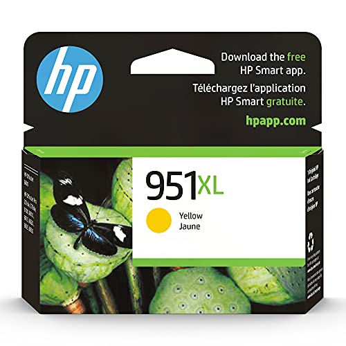 Original HP 951XL Yellow High-yield Ink Cartridge | Works with HP OfficeJet 8600, HP OfficeJet Pro 251dw, 276dw, 8100, 8610, 8620, 8630 Series | Eligible for Instant Ink | CN048AN