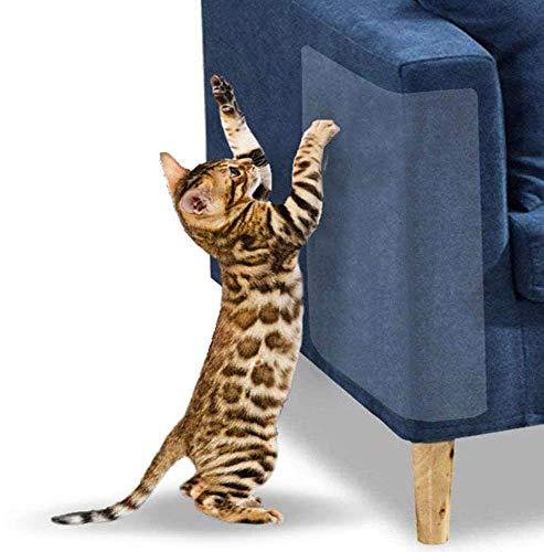 DERU Protector de Muebles Gatos, 6 Piezas Gato Protector de arañazos, Protector de Muebles Gatos, Transparente Autoadhesivas contra Arañazos, para Muebles, Sofa, Puertas y Paredes de Madera