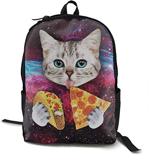 Casual Daypack Large Capacity Multipurpose Anti-Theft Bookbag Backpack for High School Outdoors Running - Galaxy Space Kitten Cat Eat Taco Pizza, Travel Hiking Backpack