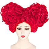 IMEYLE Wig Red Queen Cosplay Wig for Women Girls Short Curly Wigs with Heart Bun Beehive Synthetic Hair for Costume