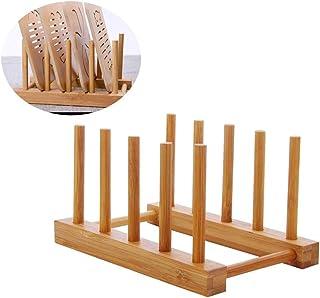 Hemoton 1 unid Portavasos de bambú de Madera Estante para Platos Platos escurreplatos Cubiertas para ollas Manteles Individuales Organizador para Cocina