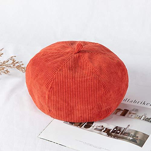 Beret weiblicher Frühling und Herbst Dünnschnitt Cordhut weibliche koreanische Version des britischen Retro-Malerhutes der Flut-Einstellbar (55-58 cm)_Ziegelrot