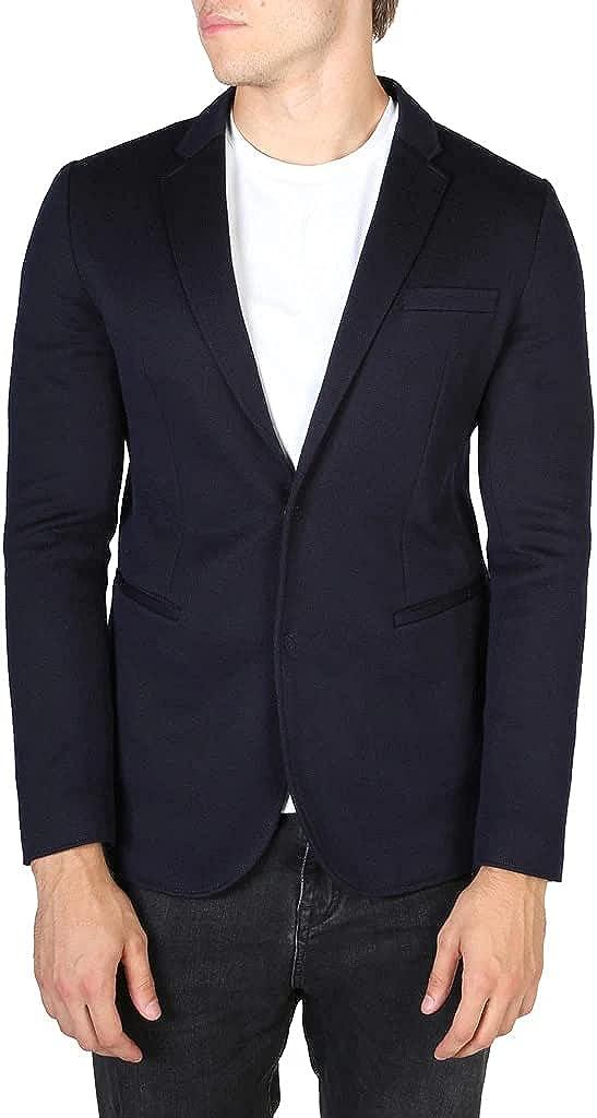 Emporio Armani Men's Solid Blue Luxury Blazer Jacket Suit Formal Jacket