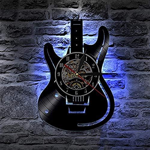 chitarra musica Orologio da Parete in Vinile da Record,Orologio da parete luminoso con luce notturna a LED,Soggiorno orologio camera da letto,Opere d'arte della decorazione del bar club (Con la luce)