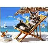 Animal Bordado De Diamantes Gato Mar Playa Pesca 5D Diy Diamante Pintura Punto De Cruz Rocat Decoración De Boda 40 * 50cm