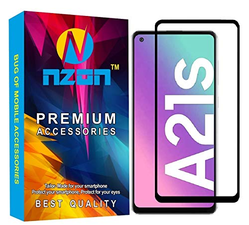 nzon 3D Curved Full Screen Coverage Tempered Glass Compatible for Samsung galaxy A21s (Black)
